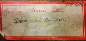 Label on film reel from the ʻIolani Palace collection