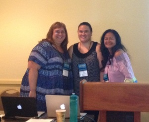 'Ulu'ulu's Shavonn Matsuda (middle) with co-presenters Pi'ilani Ka'aloa (left) and Kauwela Valeho-Novikoff (right) from Kamakakūokalani Center for Hawaiian Studies presenting on Waihona