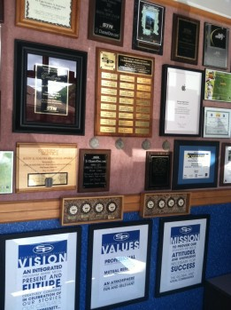 walls and walls of awards...